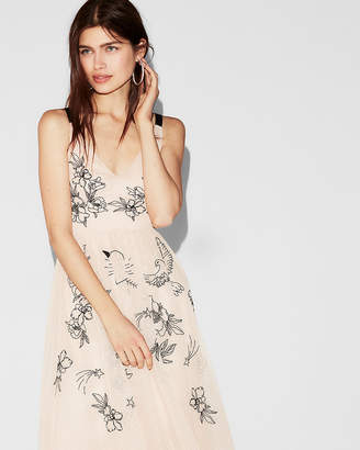 Express Floral Embellished Fit And Flare Dress