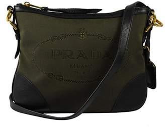 Prada Crossbody Bag Jacquard Logo Green/Brown