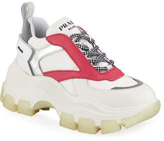 864ee183b4 Prada Leather Flatform Lug-Sole Trainer Sneakers