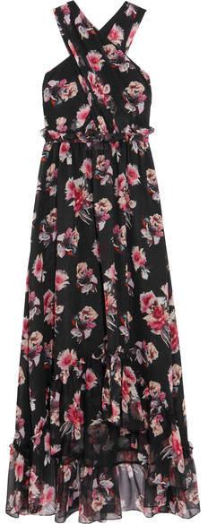 MSGM - Ruffled Floral-print Silk-chiffon Gown - Black