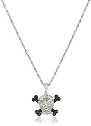 Sterling Silver Black and White Diamond Skull and Crossbones Pendant Necklace