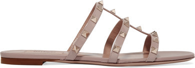 Valentino - Rockstud Leather Slides - Beige