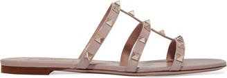 Valentino - Rockstud Leather Slides - Beige $675 thestylecure.com
