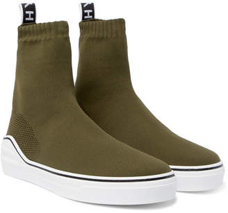 Givenchy George V Logo-Jacquard Stretch-Knit High-Top Slip-On Sneakers - Army green