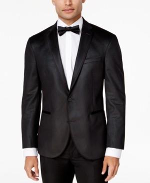 Kenneth Cole Reaction Men's Slim-Fit Charcoal Check Velvet Dinner Jacket
