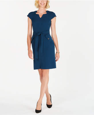 Kasper Cap-Sleeve Stretch-Crepe Belted Dress