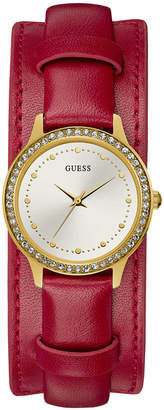 GUESS Women's Red Leather Cuff Strap Watch 30mm