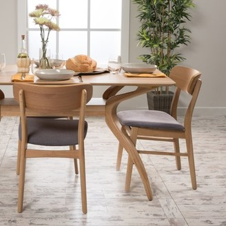 Mid-Century MODERN Noble House Harper Dining Chairs, Set of 2, Natural Oak, Dark Grey
