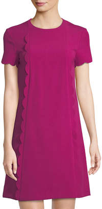 Tahari ASL Short-Sleeve Scallop-Edge Crepe Dress