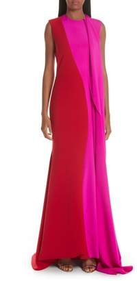 Christian Siriano Side Drape Two-Tone Gown