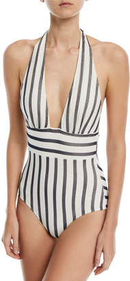 Fuzzi Plunging Striped One-Piece Swimsuit