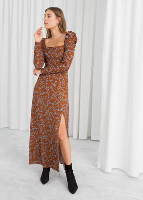 And other stories Ruched Floral Maxi Dress
