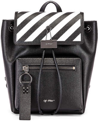 Off-White Off White Diagonal Binder Backpack in Black & White | FWRD
