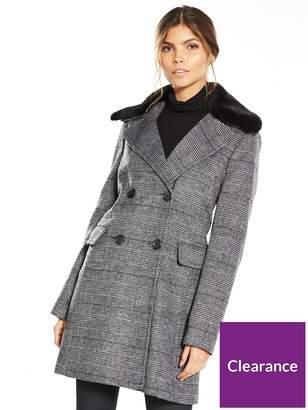 Warehouse Check Faux Fur Collar Coat