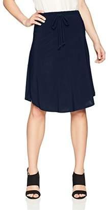 Star Vixen Women's Petite Tie-Waist Ity Stretch a-Line Mid-Length Skirt