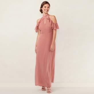 Lauren Conrad Women's Ruffle Cold-Shoulder Maxi Dress