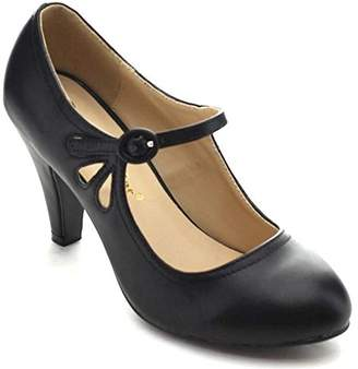 Chloé Chase & Kimmy-21 Women's Round Toe Pierced Mid Heel Mary Jane Style Dress Pumps