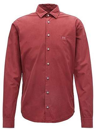 HUGO BOSS Slim-fit shirt in paper-touch pigment-dyed cotton
