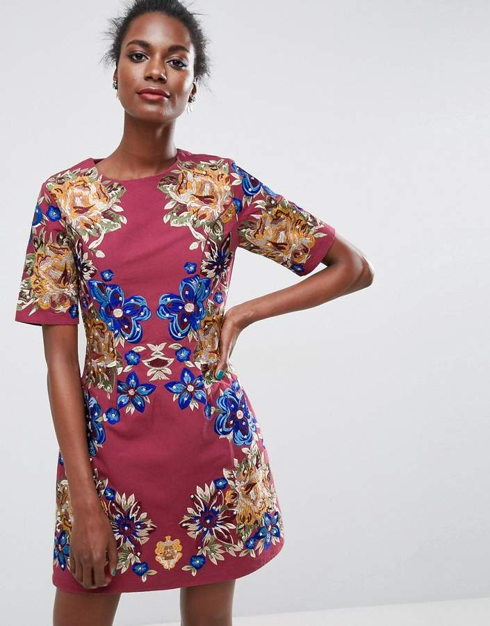 AsosASOS Premium Embroidered Shift Mini Dress