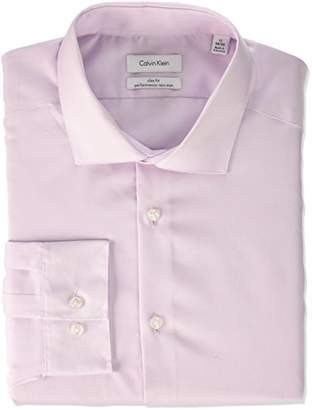 Calvin Klein Men's Non Iron Slim Fit Herringbone Spread Collar Dress Shirt
