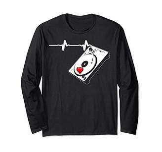 Jockey DJ Gift T Shirt Disk Turntable Music Heartbeat LSS