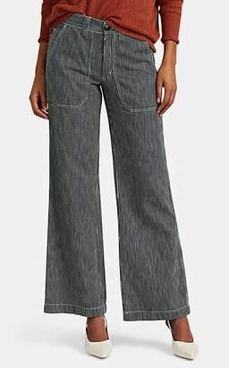 Masscob Women's Fortune Striped Cotton Wide-Leg Pants - Navy