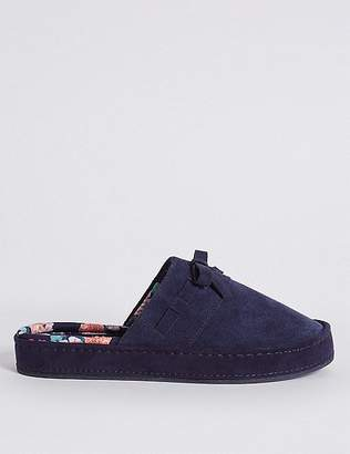Marks and Spencer Suede Stitch Bow Moccasin Slippers