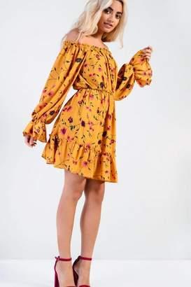 Glamorous **Autumn Floral Bardot Dress Tall