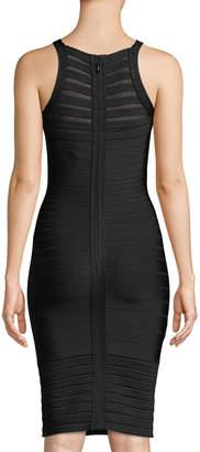 Herve Leger Emily Transparent Picot-Trim Sheath Dress