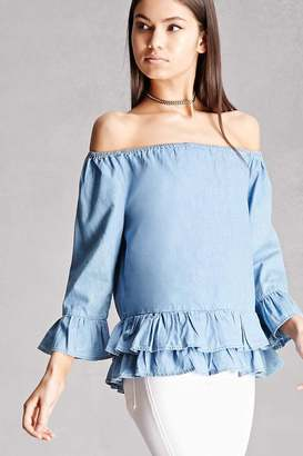 FOREVER 21+ Off-the-Shoulder Chambray Top $35 thestylecure.com