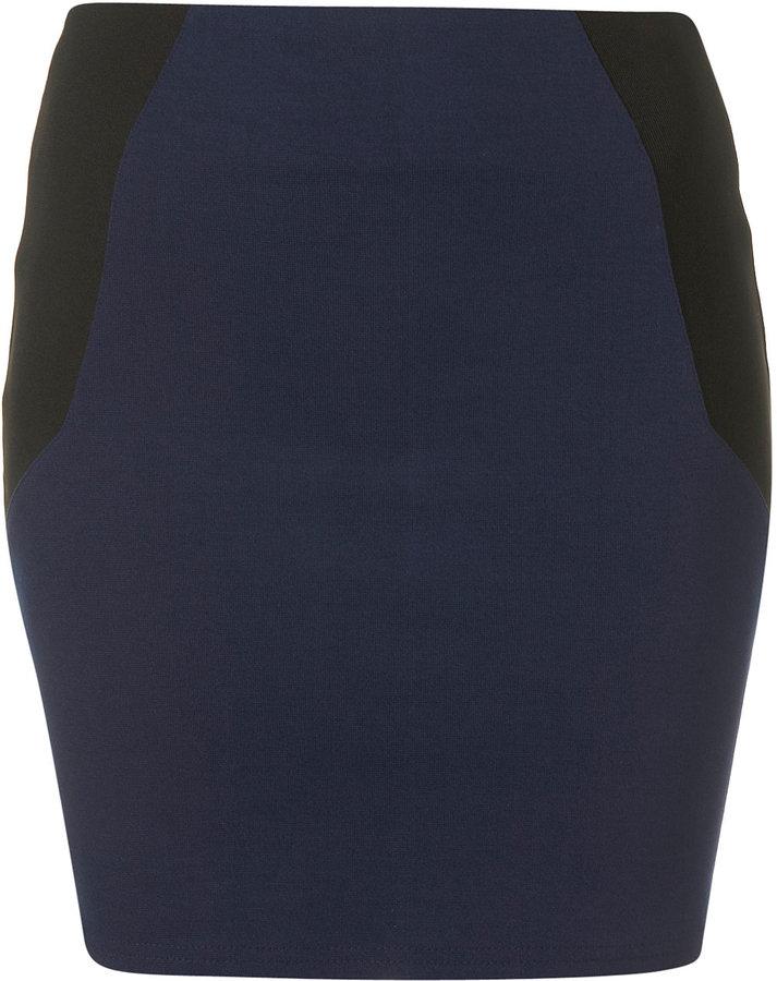 Navy Elasticated Side Bodycon Mini Skirt