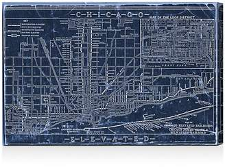 "Oliver Gal Chicago Railroad Blueprint Map Wall Art, 30"" x 20"""
