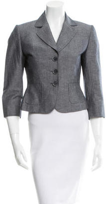 Tahari Notch-Collar Chambray Blazer $85 thestylecure.com