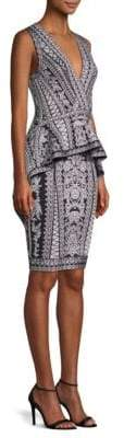 Herve Leger Jacquard Ruffle Peplum Dress