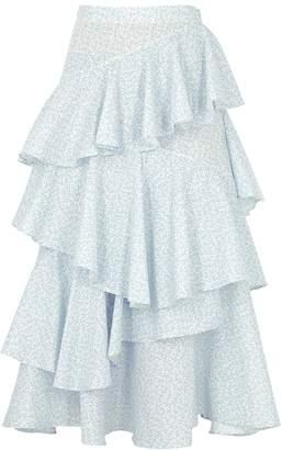 ALEXACHUNG Printed Tiered Cotton Midi Skirt