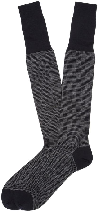 Brooks Brothers Grid Over-the-Calf Socks