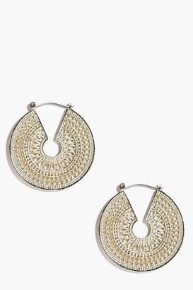 boohoo Eastern Intricate Hoop Earrings