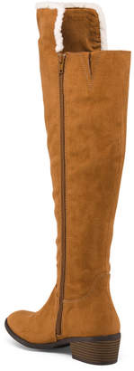 Faux Suede And Shearling High Shaft Boots