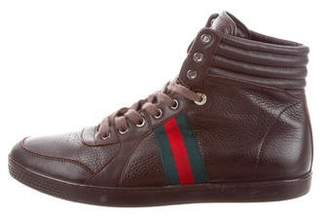 Gucci Grained Leather High-Top Sneakers
