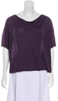 Acne Studios Short Sleeve Scoop-Neck Top Aubergine Short Sleeve Scoop-Neck Top