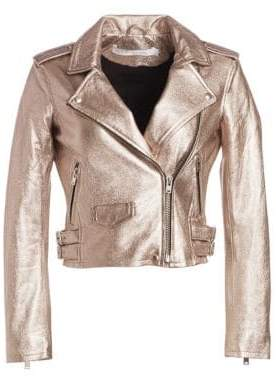 IRO Ashville Cropped Metallic Leather Jacket