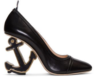 Thom Browne Black Anchor Icon Heels $1,050 thestylecure.com