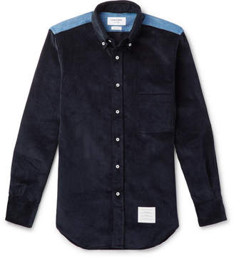 Thom Browne Slim-Fit Button-Down Collar Denim-Panelled Cotton-Corduroy Shirt - Navy