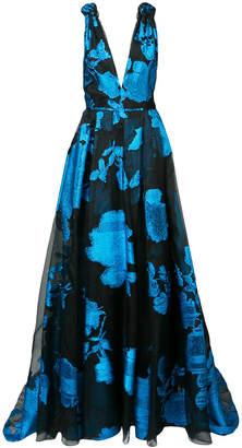 Carolina Herrera glittery floral flared gown
