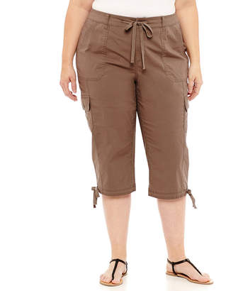 ST. JOHN'S BAY Drawstring Cargo Crop - Plus