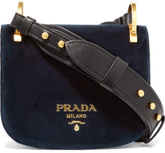 Prada - Pionnière Leather-trimmed Velvet Shoulder Bag - Midnight blue $1,970 thestylecure.com