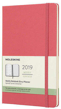 Moleskine NEW 2019 Weekly Diary Hard Cover Daisy Pink Large