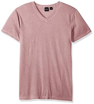 HUGO BOSS BOSS Orange Men's Garment Dyed Cotton Slim Flit V Neck Tee Shirt