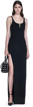 Alexander Wang Exclusive Column Gown With High Slit And Piercing Insert