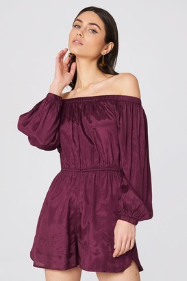Na Kd Boho Off Shoulder Balloon Sleeve Playsuit